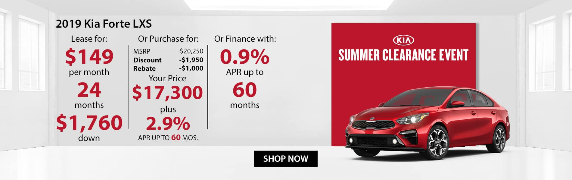 Special offer on 2019 Kia Forte LXS Lease for $149 or Purchase for $17,300 with 2.9% APR or get 0% APR for 60 months.