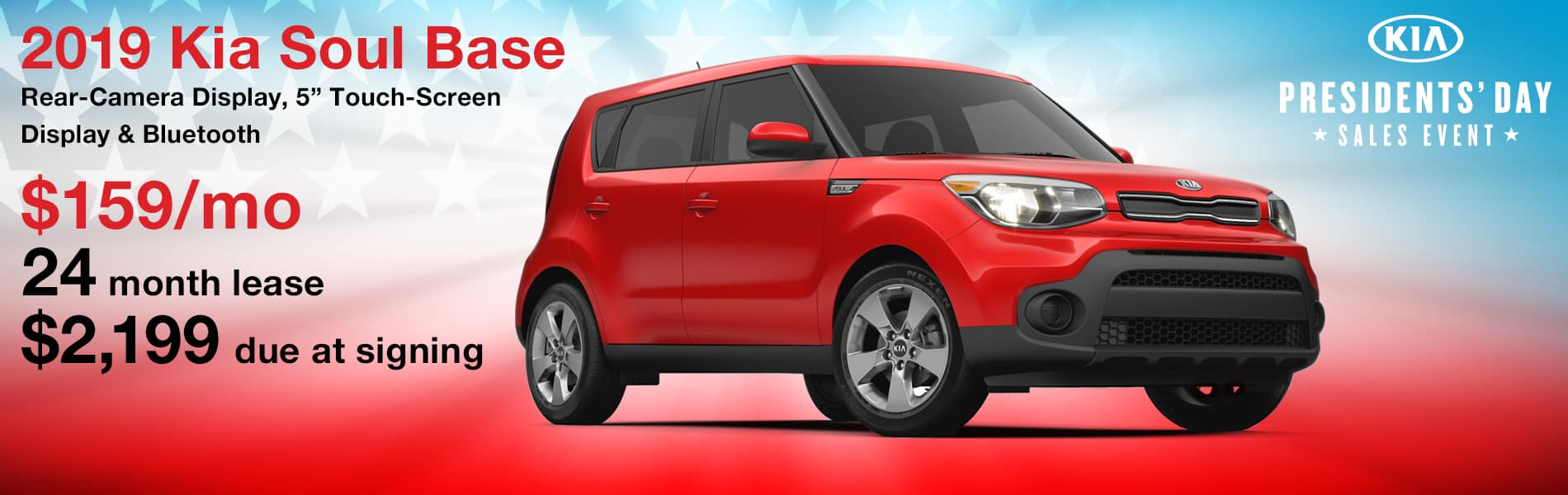 Lease a 2019 Kia Soul Base for $159 per month with $2,199 due at signing