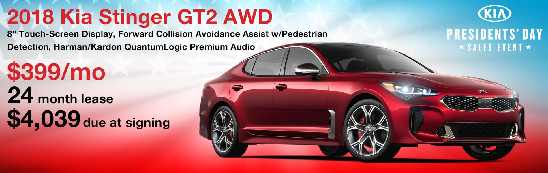 Lease a 2018 Stinger GT2 AWD for $399 per month with $4,039 due at signing