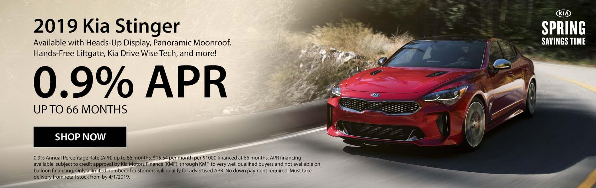 Get .9% APR up to 66 months on a new 2019 Kia Stinger