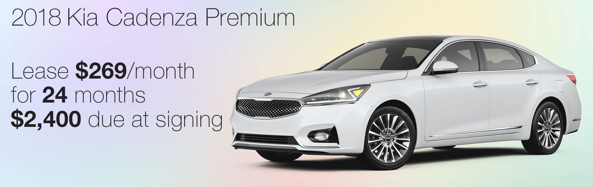 Lease a 2018 Kia Cadenza Premium for $269 per month with $2,400 due at signing