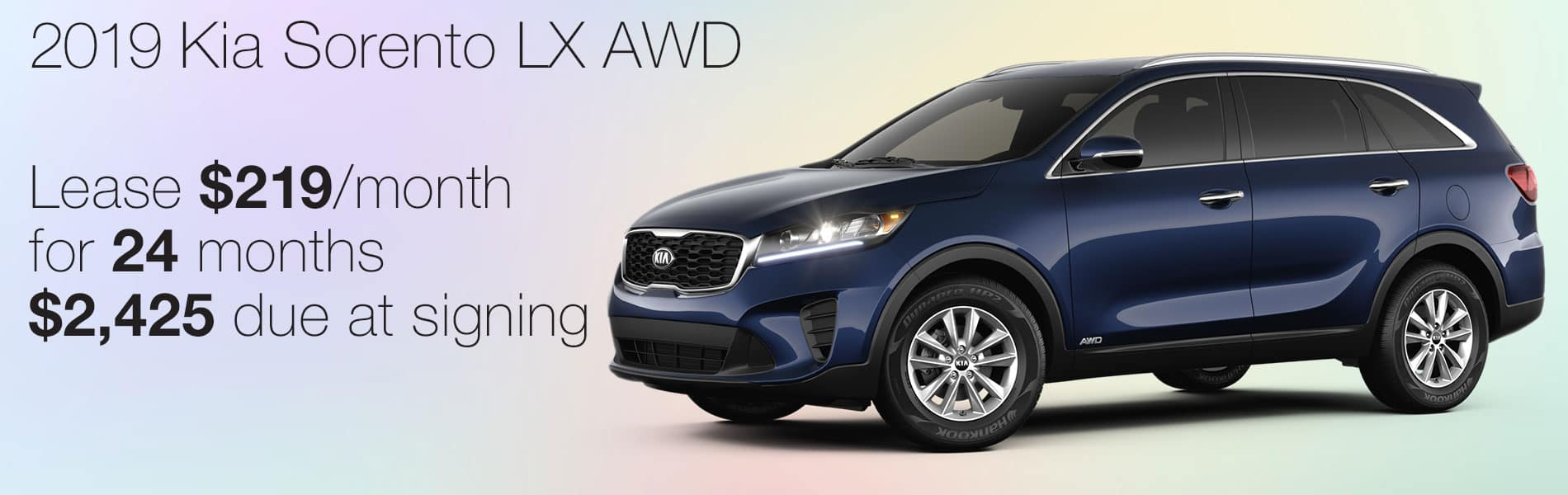 Lease a 2019 Kia Sorento LX AWD for $219 per month with $2,425 due at signing