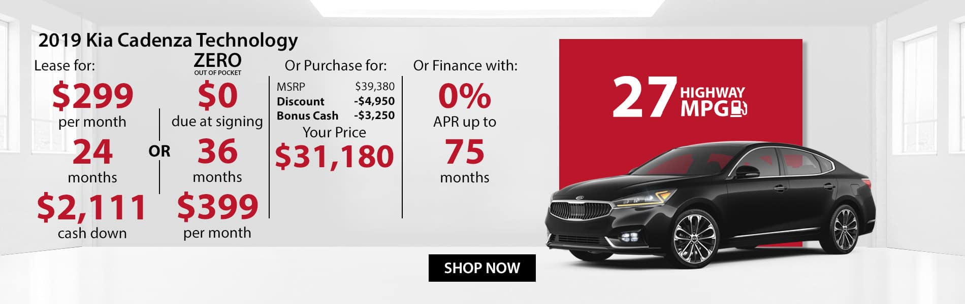 Special offer on 2019 Kia CadenzaTechnology! Lease for $299 with $2,111 down or Purchase for $31,180 or get 0% APR for 75 months.