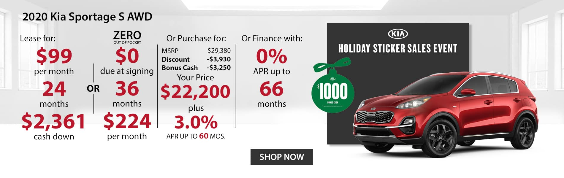 Special offer on 2020 Kia Sportage S AWD Lease for $99 or Purchase for $22,200 with 3% APR or get 0% APR for 66 months.