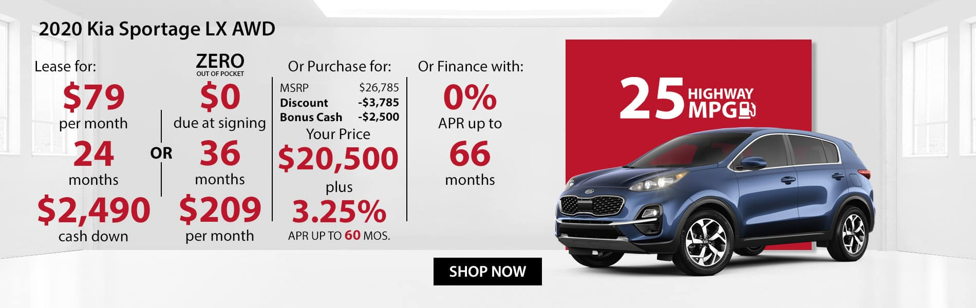 Special offer on 2020 Kia Sportage LX AWD Lease for $79 or Purchase for $20,500 with 3.25% APR or get 0% APR for 66 months.