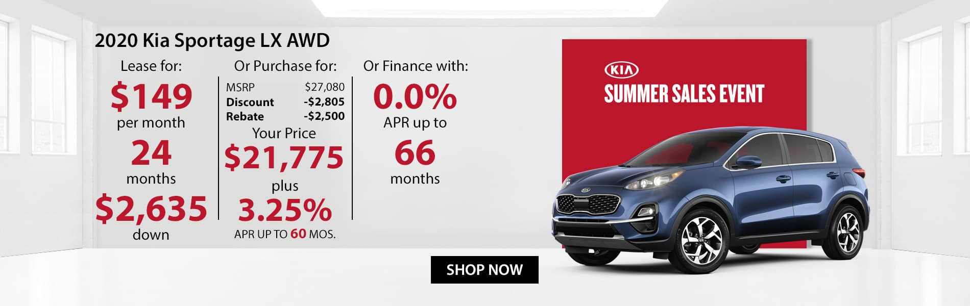 Special offer on 2020 Kia Sportage LX AWD Lease for $149 or Purchase for $21,775 with 3.25% APR or get 0% APR for 66 months.