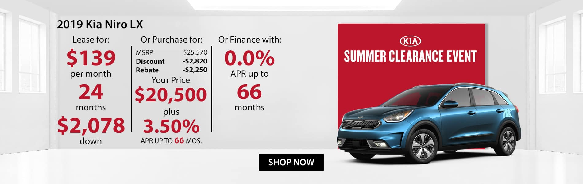 Special offer on 2019 Kia Niro LX! Lease for $139 or Purchase for $20,500 with 3.5% APR or get 0% APR for 66 months.