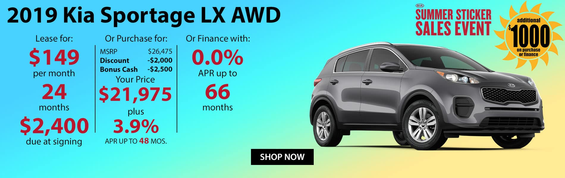Lease a 2019 Kia Sportage LX for $149 per month or finance with 0% APR up to 66 months