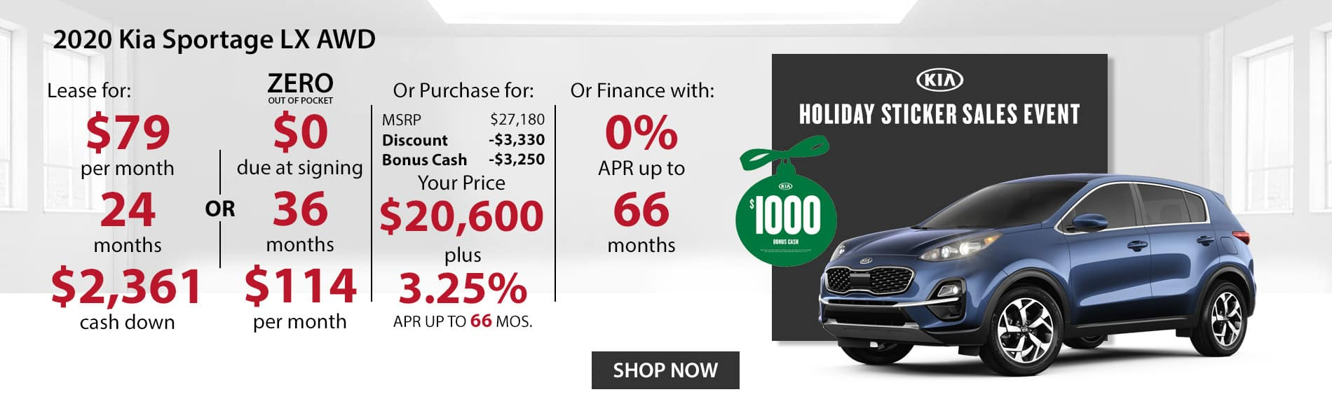 Special offer on 2020 Kia Sportage LX AWD Lease for $79 with $2,361 down or Purchase for $20,600 with 3.25% APR or get 0% APR for 66 months.