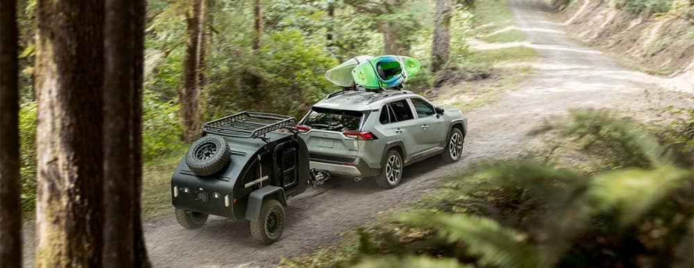 2019 Toyota RAV4 Off Roading with Roof Rack and Towing Enabled