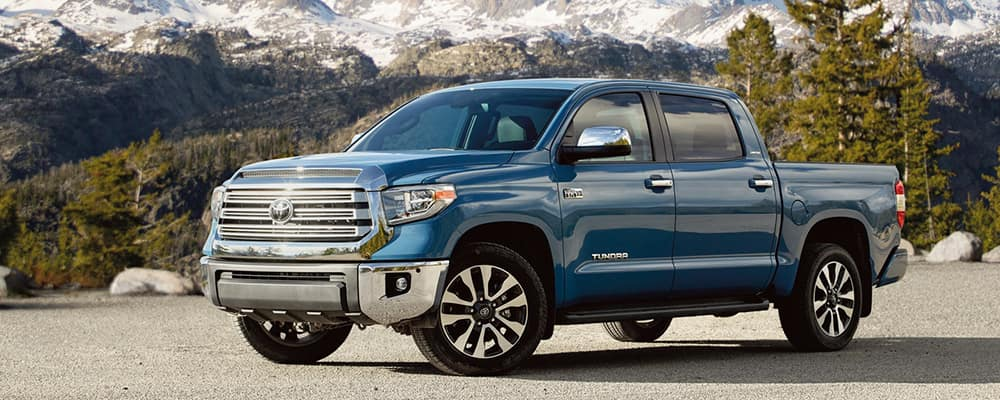 blue 2020 toyota tundra parked near moutains