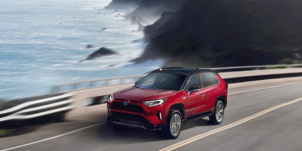 2021 Toyota Rav4 driving on road cliffside