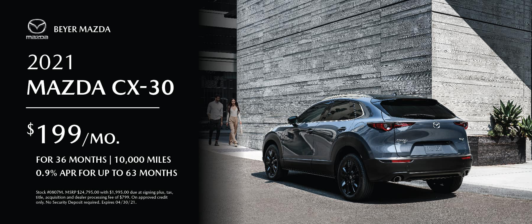 Beyer Mazda_Apr2021-Lease Special-CX30_Banner 1800×760