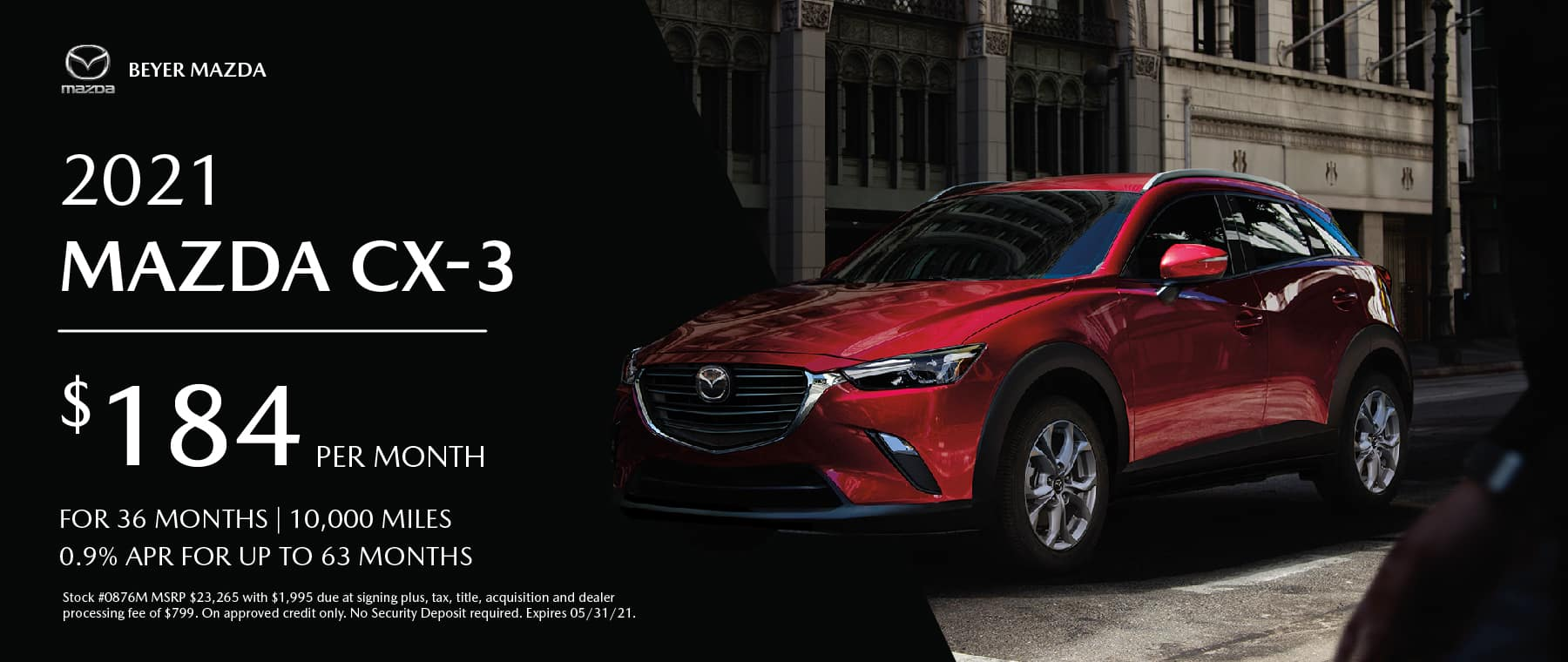 Beyer Mazda_May2021-Lease Special-CX3_Banner 1800×760