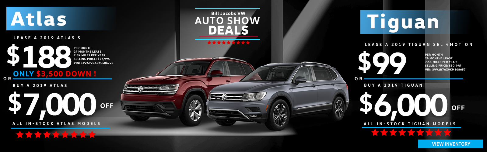 Lease & Finance Auto Show Specials on Atlas and Tiguan