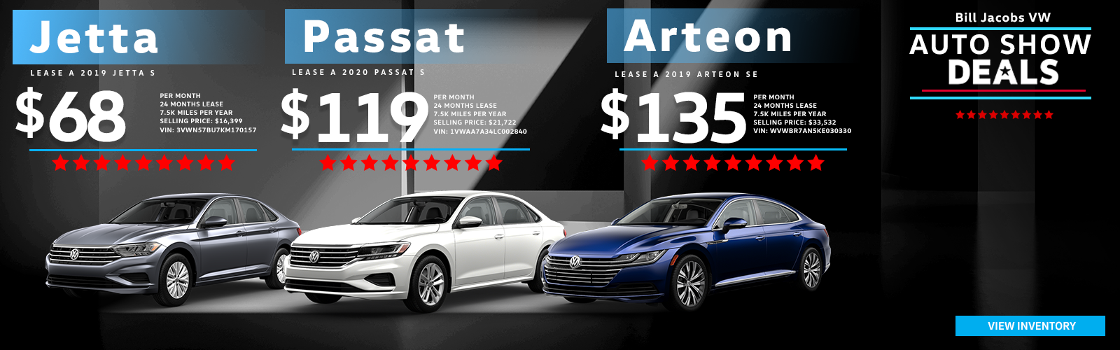 Auto Show Lease Specials of Volkswagen Jetta, Arteon, and Passat