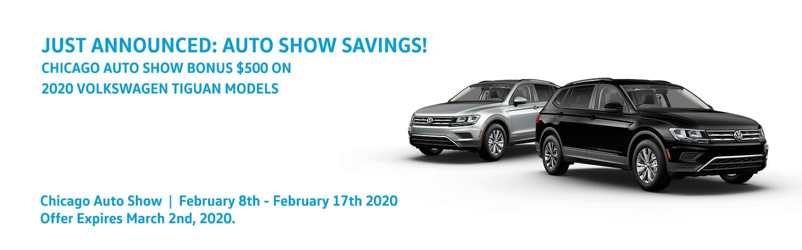 Chicago Auto Show-$500 Bonus on Volkswagen Tiguan