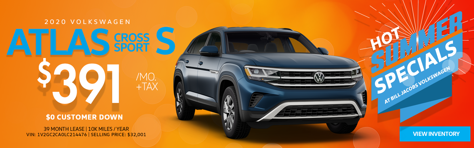 Lease a 2020 Atlas Cross Sport S for $391/mo.
