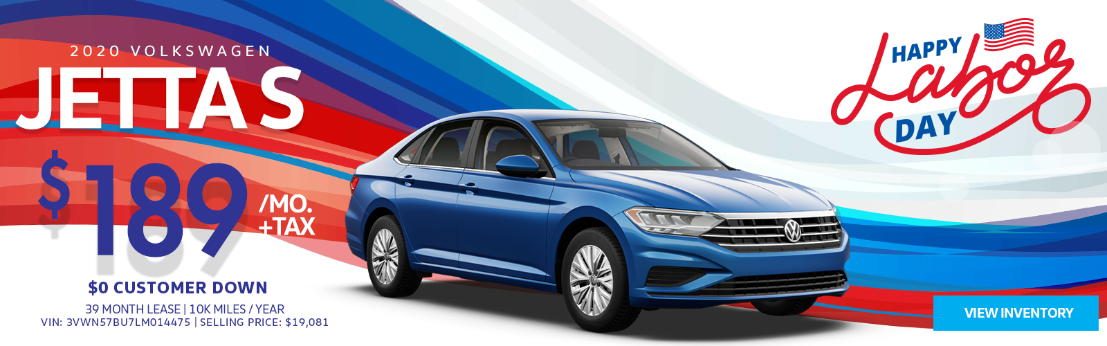 Lease a 2020 Jetta S for $189/mo.