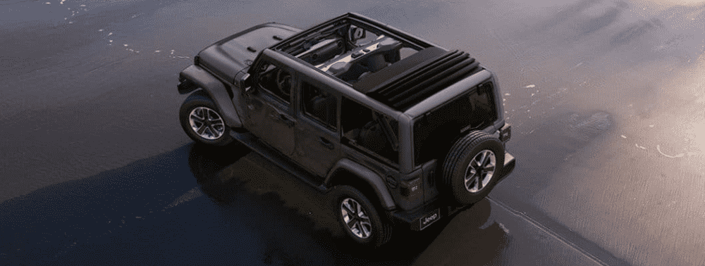 Black 2019 Jeep Wrangler top view