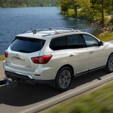 2018 Nissan Pathfinder towing a boat