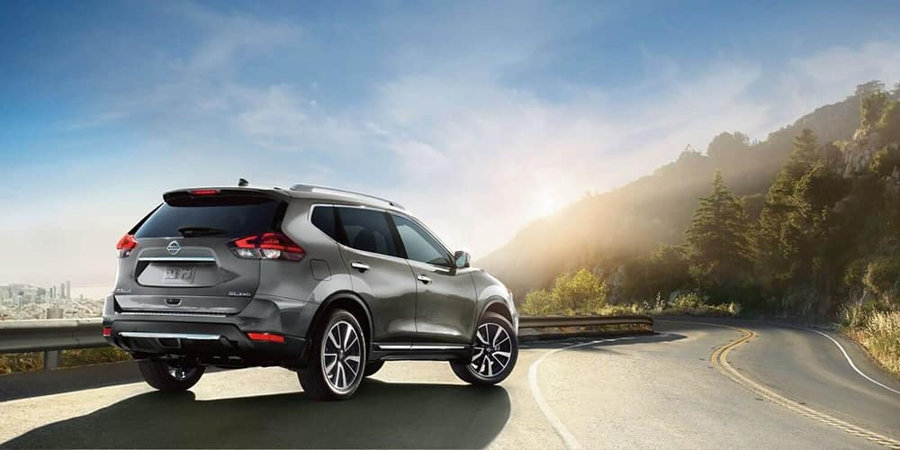 2019 Nissan Rogue Parked with Sunset in Background