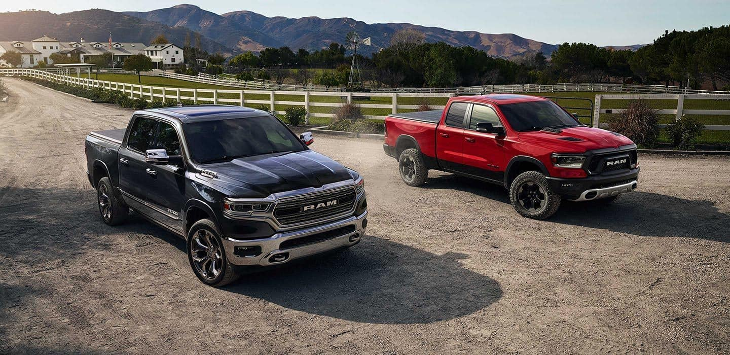 2019 RAM 1500 Red and Black Next To Eachother