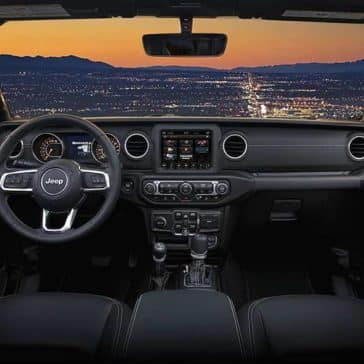 2019 Jeep Wrangler interior at sunset