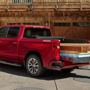 2019 Chevrolet Silverado 1500 with wood planks in the bed