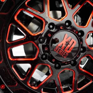 Black and Red XD Alloy Wheels Close Up