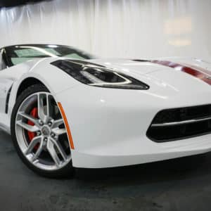 Closeup of White Corvette with Red Brake Caliper