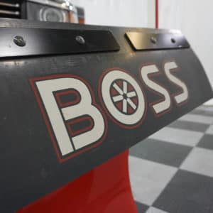 Silverado with Plow Close-up on Boss Logo