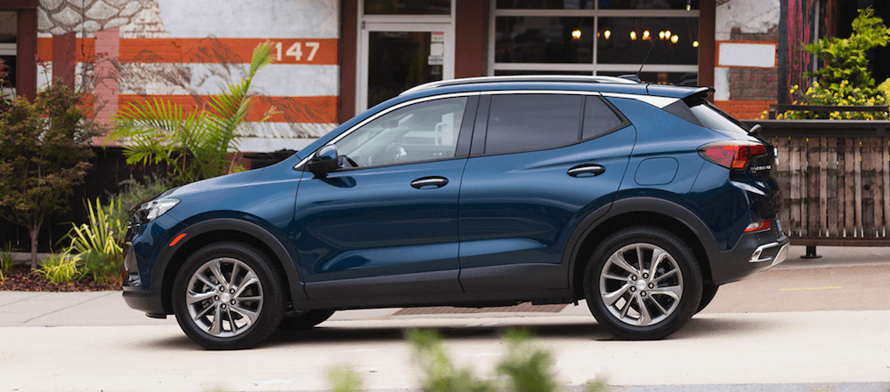 2020 Buick Encore GX parked on street in blue