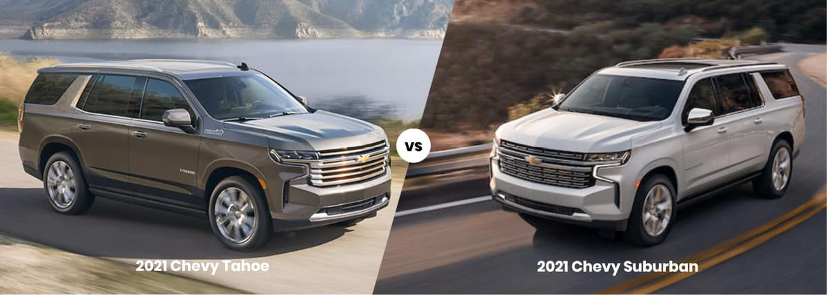 2021 Chevy Tahoe vs Chevy Suburban side by side comparison banner