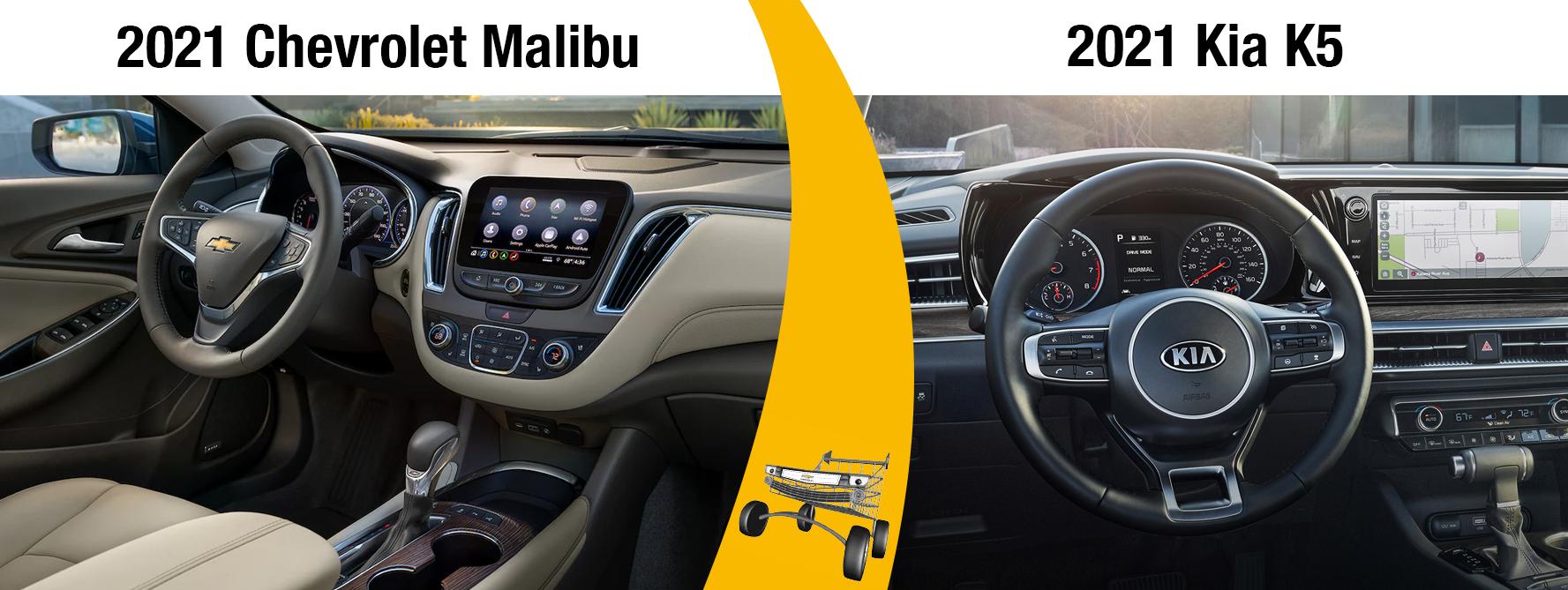 2021 Chevy Malibu vs 2021 Kia K5 Interior