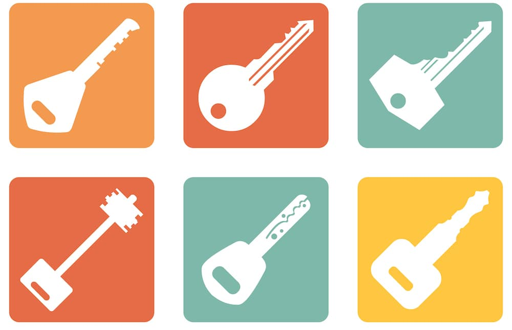 Modern and Antique Keys Icons on Orange, Red, Green, and Yellow Backgrounds