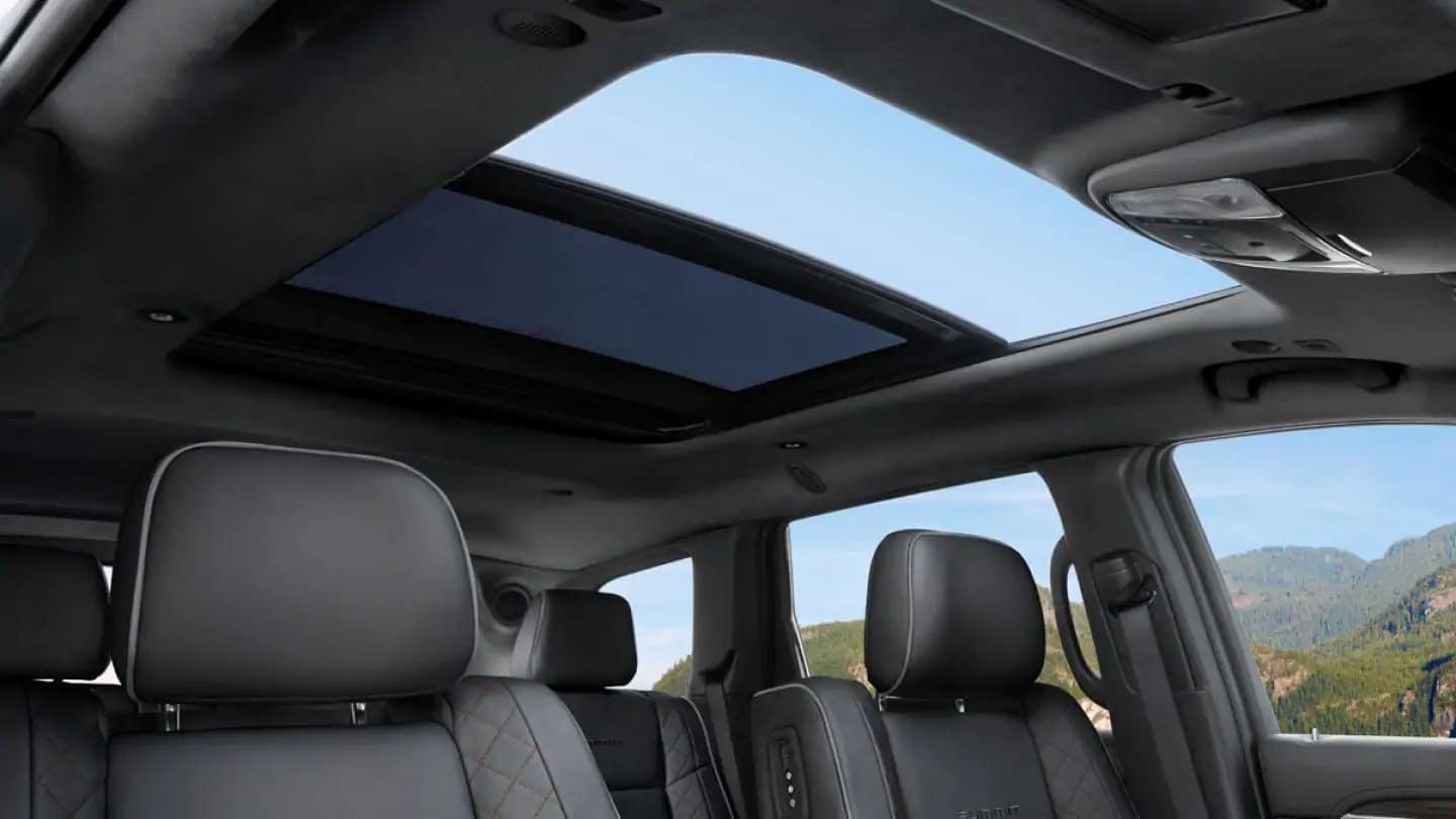 View inside 2019 Jeep Grand Cherokee interior seats and moonroof