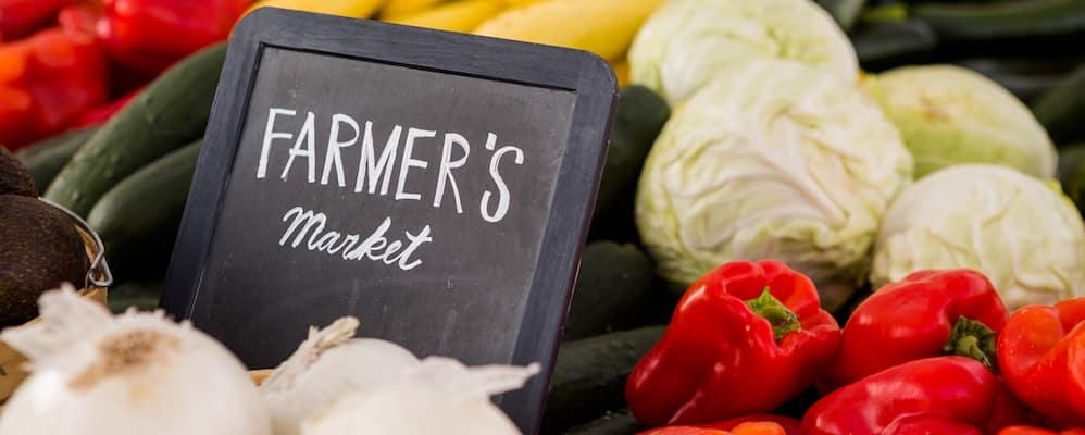 Vegetables on farmer's market stand