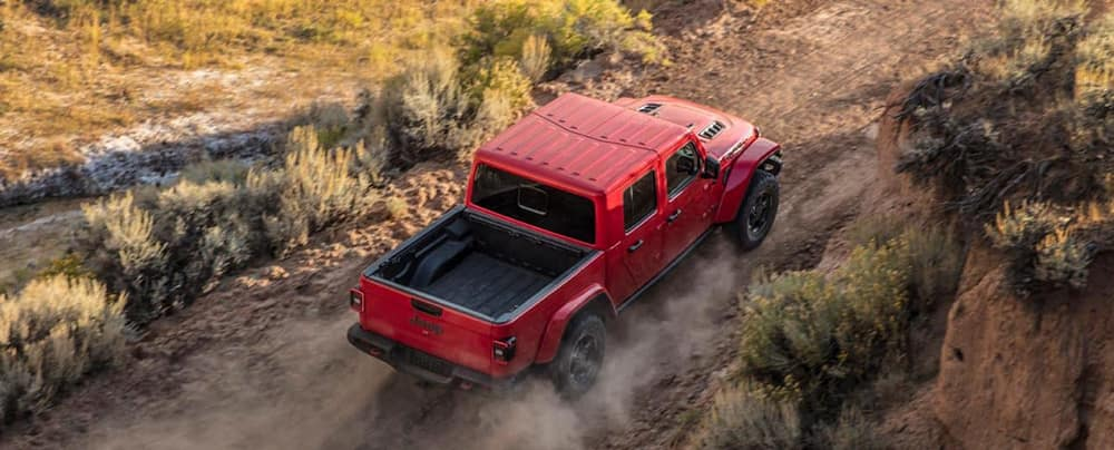 Red 2020 Jeep Gladiator exterior dimensions top view