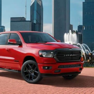 2020 Ram 1500 Laramie in red parked in Chicago