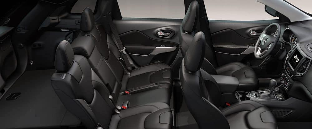 Top view inside Jeep Cherokee interior with black seating