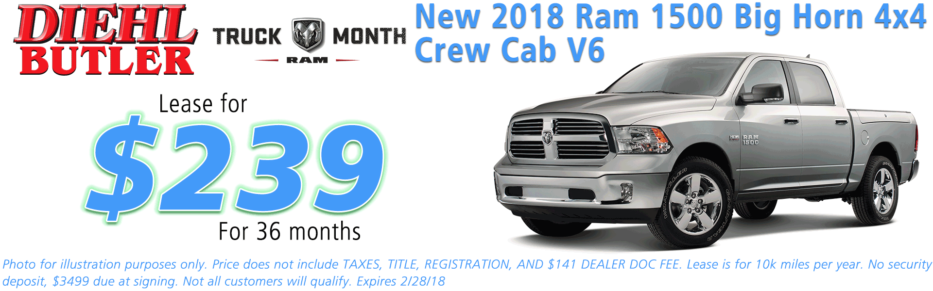 NEW 2018 RAM 1500 BIG HORN CREW CAB 4X4 5'7 BOX diehl automotive butler pa 16002 chrysler jeep dodge ram