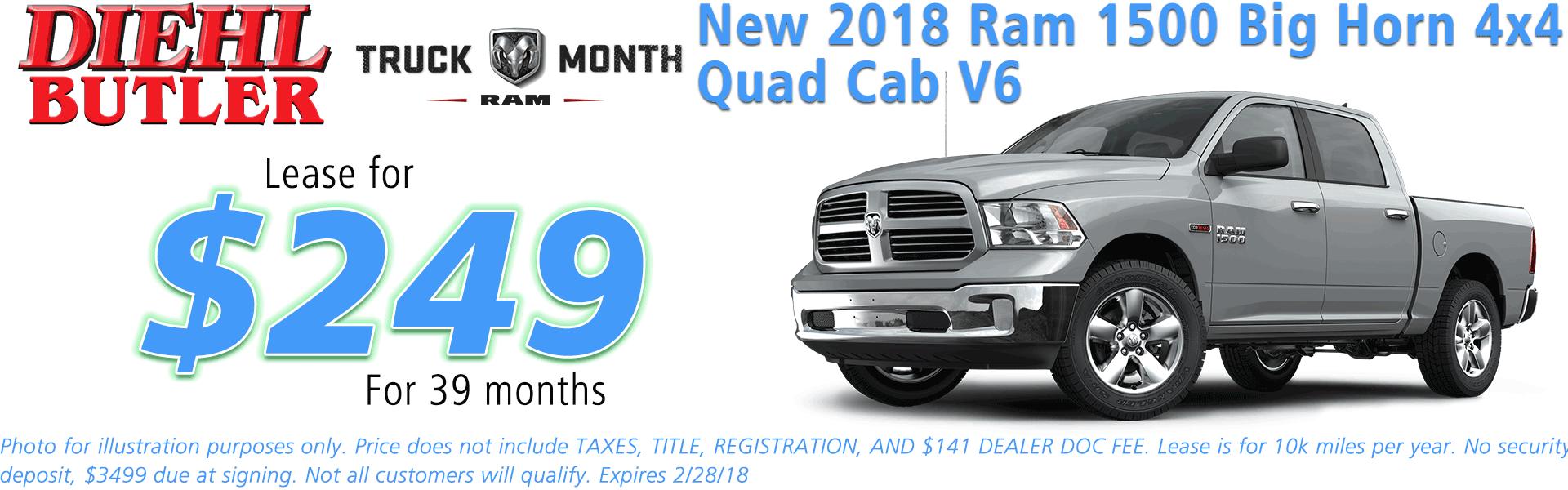 NEW 2018 RAM 1500 BIG HORN QUAD CAB® 4X4 6'4 BOX diehl automotive butler pa 16002 chrysler jeep dodge ram
