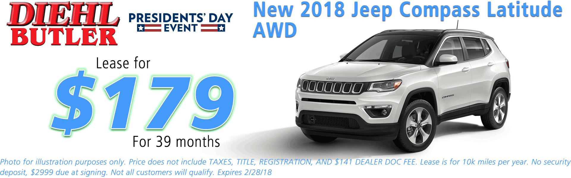 NEW 2018 JEEP COMPASS LATITUDE 4X4 diehl automotive butler pa 16002 chrysler jeep dodge ram