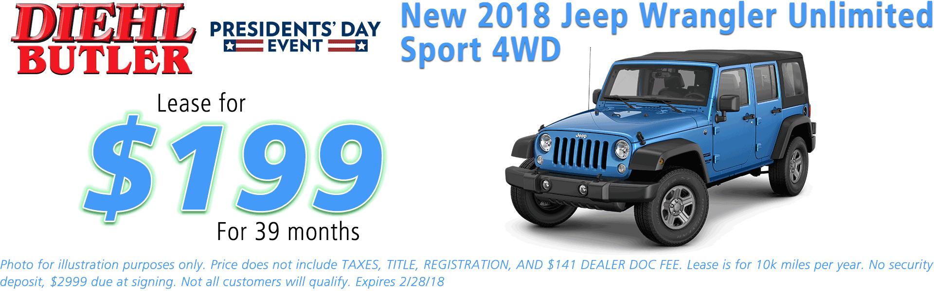 NEW 2018 JEEP WRANGLER JK UNLIMITED SPORT 4X4 diehl automotive butler pa 16002 chrysler jeep dodge ram