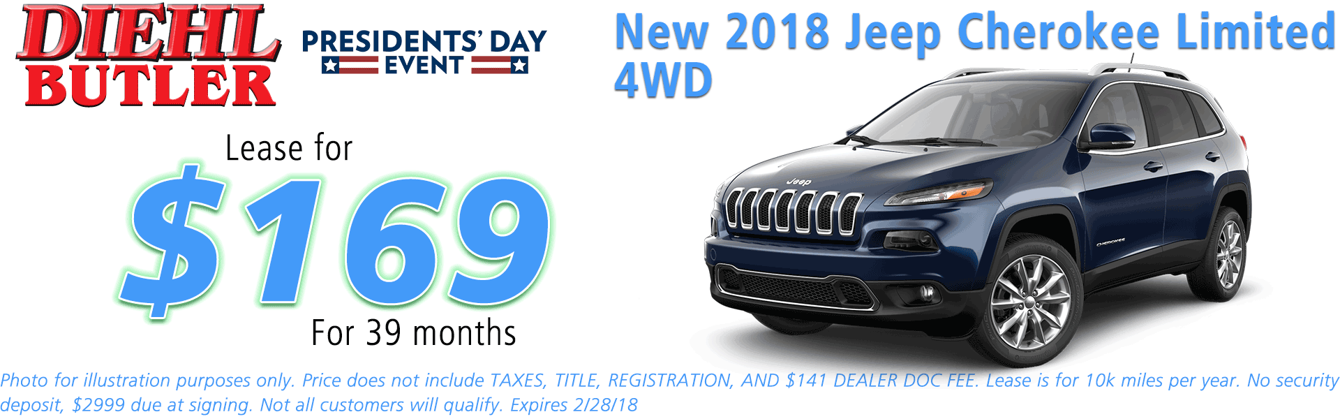 NEW 2018 JEEP CHEROKEE LIMITED 4X4 diehl automotive butler pa 16002 chrysler jeep dodge ram