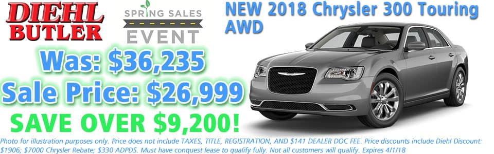 NEW 2018 CHRYSLER 300 TOURING L AWD Diehl Automotive serving Butler, Cranberry, Mars, Freeport, and Pittsburgh