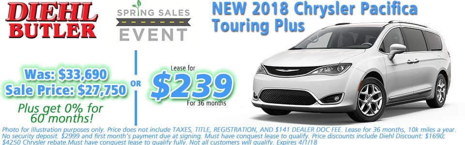 NEW 2018 CHRYSLER PACIFICA TOURING PLUS Diehl Automotive serving Butler, Cranberry, Mars, Freeport, and Pittsburgh