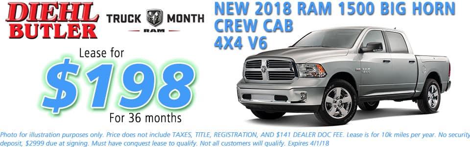 NEW 2018 RAM 1500 BIG HORN CREW CAB 4X4 diehl chrysler jeep dodge ram serving butler cranberry mars saxonburg and pittsburgh