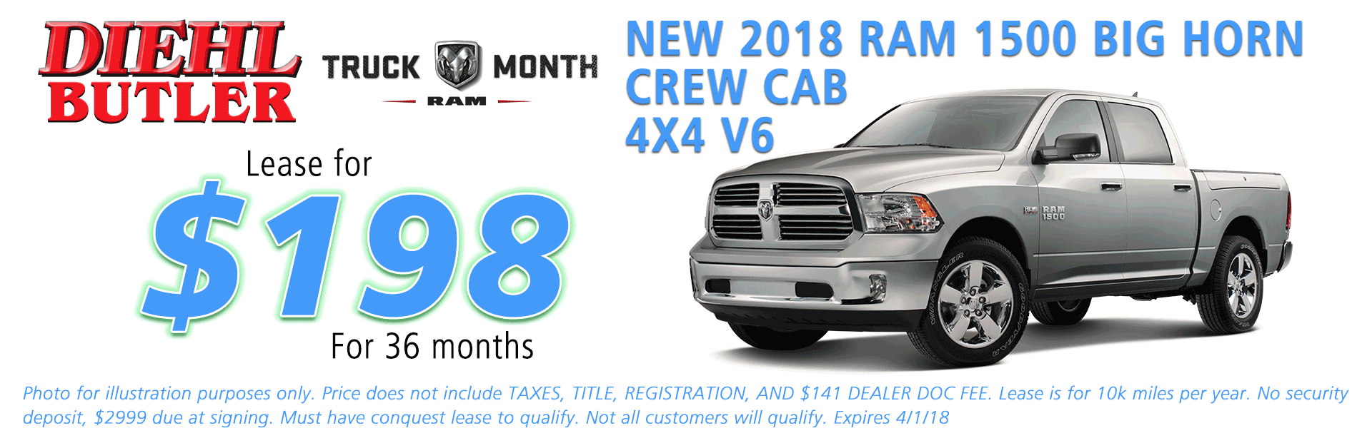 NEW 2018 RAM 1500 BIG HORN CREW CAB 4X4 diehl chrysler jeep dodge ram serving butler cranberry mars saxonburg and pittsburgh